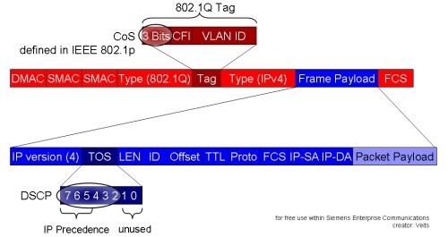 Highlighting CoS and DSCP in an Ethernet Frame (red) with an embetted IP Packet (blue)