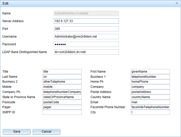 OpenScape Business UC Suite LDAP settings for Active Directory access