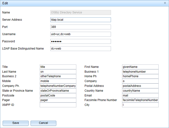 OpenScape Business UC Suite LDAP settings for Open Directory Service access