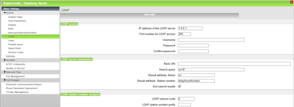 OpenScape Business System LDAP Settings